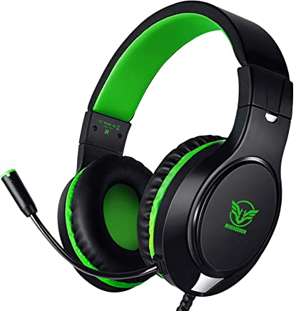 $20 Get Karvipark H-10 Gaming Headset for Xbox One/PS4/PC/Nintendo Switch Noise Cancelling,Bass Surround Sound,Over Ear,3.5mm Stereo Wired Headphones with Mic for Clear Chat (Green)