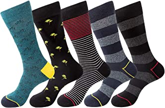 Mens 5/6 Pack Patterned Striped Cotton Funky Happy Dress Socks Gift Box