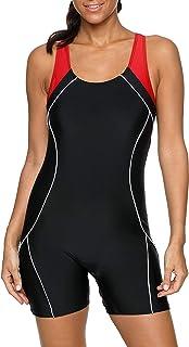 BeautyIn Women's Boyleg Abdominal Shaping One-Piece Slim Swimwear Sporty Swimsuit