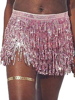 Nicute Dance Sequin Skirt Tassel Skirt Fringe Hip Scarf Festival Outfits for Women and Girls
