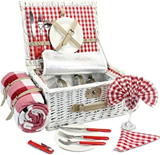 INNO STAGE Romantic Wicker Picnic Basket for 2 Persons, Special White Washed Willow Hamper Set with Big Insulated Cooler Compartment, Free Blanket and Cutlery Service Kit for Outdoor Party or Camping
