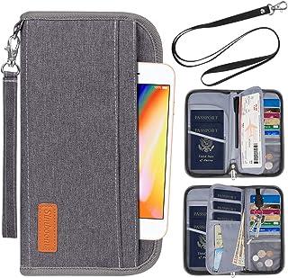 Passport Wallet, Simboom RFID Blocking Document Organizer Holder, Family Travel Clutch Bag with Removable Wristlet Strap- Gray