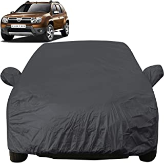 Autofact Car Body Cover with Mirror Pockets Compatible for Renaults Duster (Triple Stitched, Bottom Fully Elastic, Dark Grey)