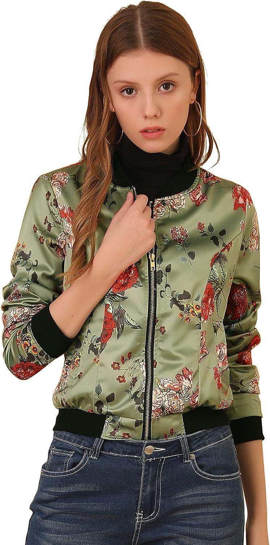 Allegra K Women's Finally OFFer resale start Stand Collar Zip Prints Floral Bomber Jacke Up