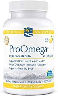 Nordic Naturals ProOmega in Fish Gelatin, Lemon Flavor - 1280 mg Omega-3-60 Soft Gels - High Potency Fish Oil - EPA & DHA ...
