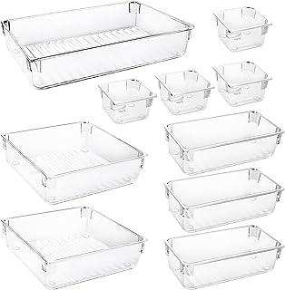 Redmoo 10 PCS Organisateur Maquillage, 4 Tailles de boîtes de Rangement en Plastique Transparent, Plateaux Boîte de Rangem...