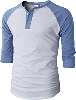 Mens Casual Premium Slim Fit T-Shirts Henley 3/4 Sleeve Summer Clothes