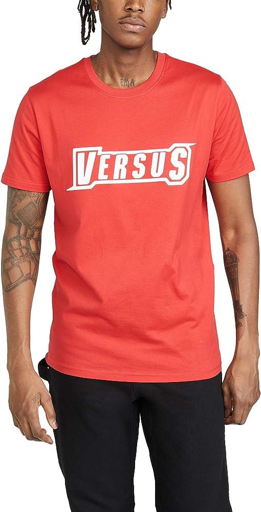Versace t-shirt girocollo, maglietta da uomo maniche corte con logo shine, 100% cotone BU90757 BJ10388 B1206
