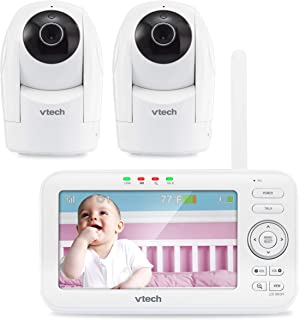 """VTech VM5262-2 5"""" Digital Video Baby Monitor with 2 Pan & Tilt Cameras and Full-Color and Automatic Night Vision, White"""