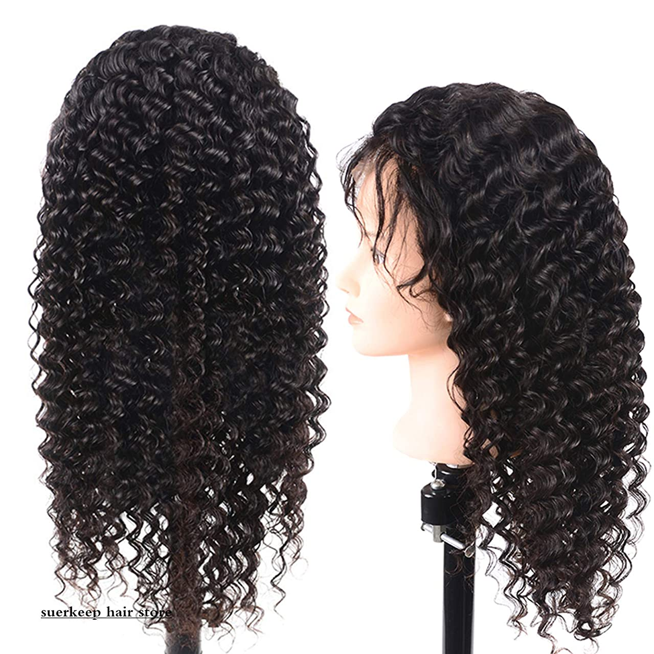 Suerkeep Glueless Lace Front Deep Wave Human Hair Wig Pre-Plucked 150% Density Top Brazilian Deep Wave Lace Front Wigs With Baby Hair Deals (12Inch, Natural Color)