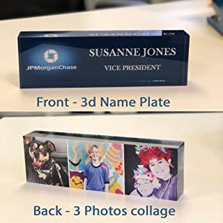 Artblox Office Desk Name Plate Personalized  Custom Name Plates for Desks on Acrylic - Office Desk Decor Nameplate   Desk Accessories   Double Sided Photo Collage Print - (8