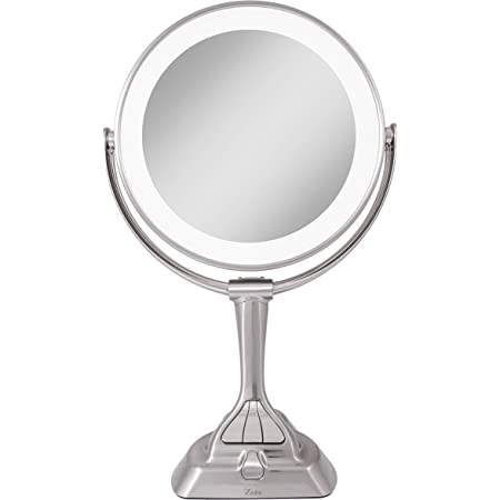 Zadro LED Variable 3-Color Lighted Dual-Sided 10X/1X Magnification Vanity Makeup Mirror for Bedroom, Bathroom and Tabletop in Satin Nickel