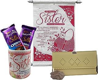Saugat Traders Rakhi Gift for Sister - Coffee Mug with Chocolates, Scroll Card & Womens Wallet - Gift for Sister On Raksha...