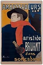 Ambassadeurs - Aristide Bruant Vintage Poster (Artist: Henri De Toulouse Lautrec) France c. 1892 64131 (6x9 Aluminum Wall Sign, Wall Decor Ready to Hang)