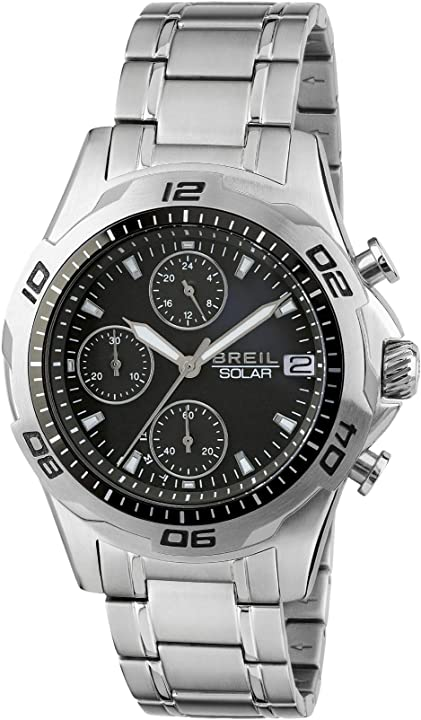 Orologio breil uomo speedway quadrante mono-colore movimento chrono solare e bracciale acciaio TW1768
