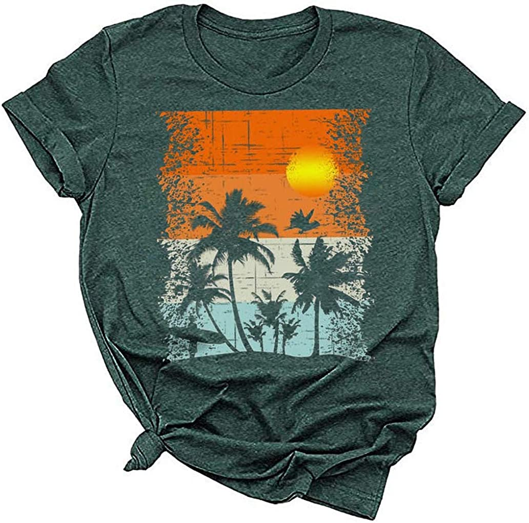 Qbily Womens Sunset Chasers Graphic Tees Summer Short Sleeve Sunset Love T-Shirts Tops