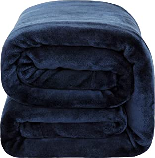 Bedsure Flannel Fleece Blanket 350GSM - Super Soft Warm Thick Winter Blanket for Couch Sofa Bed Traveling - Reversible Plush Bed Blankets, Queen Blanket 90x90 inches, Navy Blue