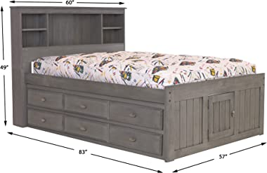 Discovery World Furniture Full Bookcase Bed with 6 Drawers
