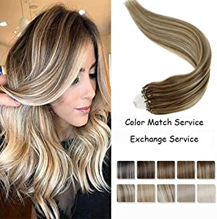 LaaVoo 22 Inch No Damage Cold Fusion Silky Straight Hair Extension 100% Remy Human Hair Solid Color in Balayage Ombre Ash Brown Fading to Platinum Blonde 1g/Strand 50g/pack