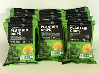 Platayuc Nature's Brand plantain chips lightly salted with pacific sea salt - Kosher - Gluten free - NON GMO - Vegan - 100% Natural - 0g Trans Fat - (Pack of 12)