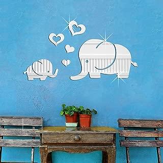 YINASI Acrylic Wall Decor, 3D DIY Elephant Love Heart Mirror Sticker DIY Decal Removable Stickers&Murals, Vinyl Wall Art for Baby Nursery Bedroom Playroom Living Room Decoration