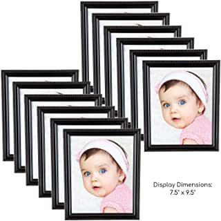 Picture Frames, 12 Pack, 8x10 Inches, Photo Frame Set, Wood, Glass, Black, Large, Minimal, Gallery Wall for Photography, Documents, Certificates, Hanging Collage, Decorative, Multi Pictures Display
