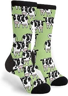 Women's Men's Fun Novelty Crazy Crew Socks Cow Seamless Pattern Dress Socks
