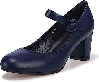 Women's Candy Dress Mary Jane Shoes Low Block Heels...