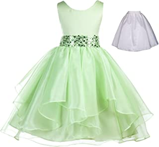 ekidsbridal Wedding Ruffles Organza Flower Girl Dress Sequin Toddler Pageant Free Petticoat 012s