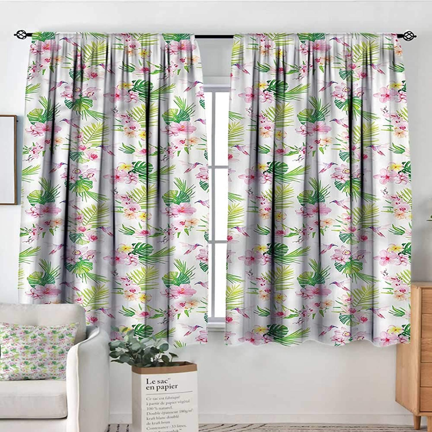 Sanring Luau,Backout Curtain Hawaiian Hibiscus Leaves 42 X72  Patterned Drape for Kids Bedroom