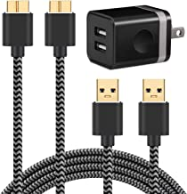 Galaxy S5 Charger (3-in-1), WITPRO 6ft Braided Fast Charging Cable 2-Pack and 2.1A/5V Dual USB Wall Charger for Samsung Galaxy S5 / Note 3 (Black)