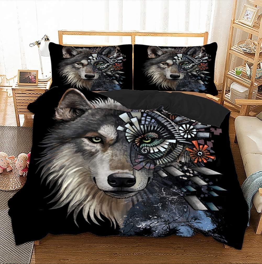 Canvas Housse de Couette et Taie d'oreiller 3D Loup Impression Enfant Garçon Les Jeunes Parure de lit,AUSingle Full