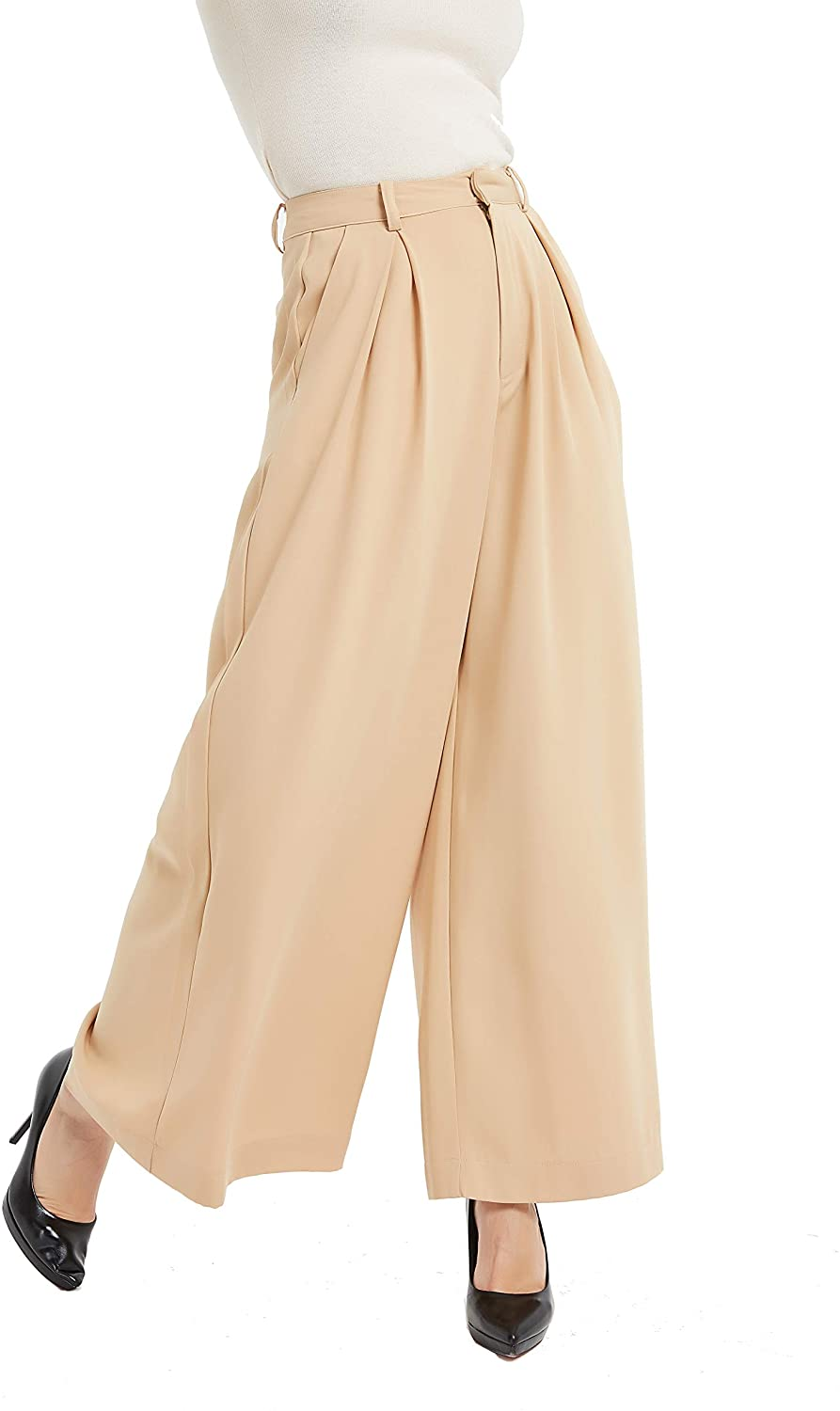 1920s Fashion & Clothing | Roaring 20s Attire Tronjori Women High Waist Casual Wide Leg Long Palazzo Pants Trousers $35.99 AT vintagedancer.com