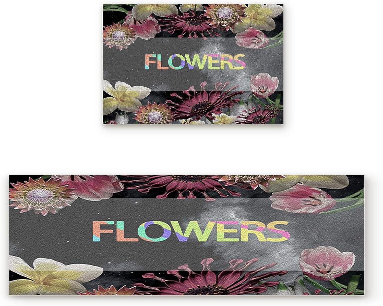 Findamy Non-Slip Indoor Door Mat Entrance Rug Rectangle Absorbent Moisture Floor Carpet for Floral Theme Beautiful Flowers Doormat 19.7x31.5In+19.7x63In