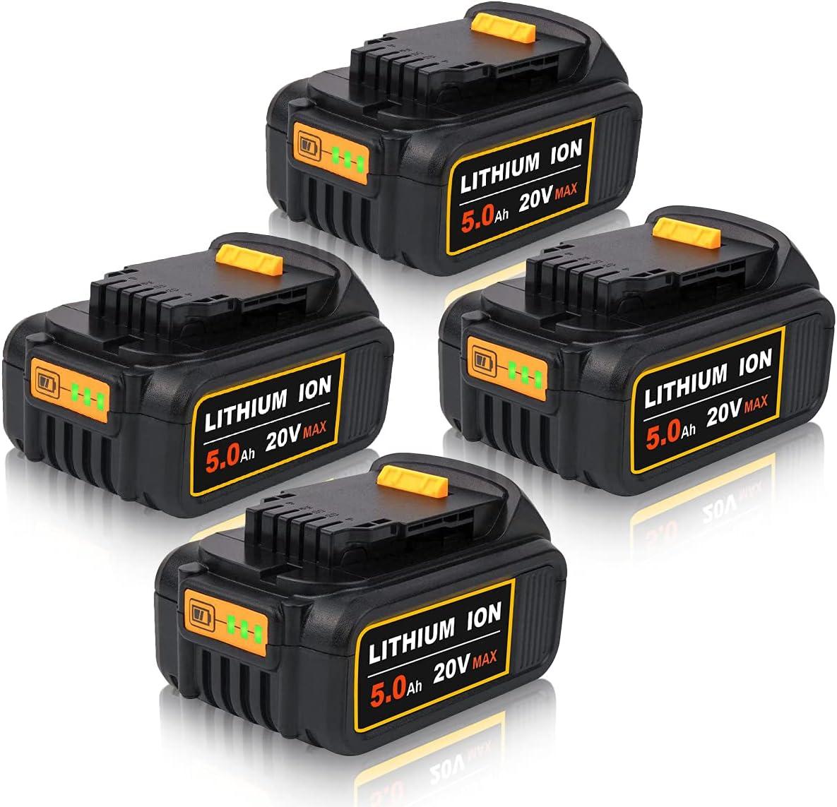 Ranking TOP12 4Packs 5000mAh DCB205 Battery Outstanding Replacement Dewalt for Volt Bat 20