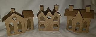 SET of 3 VILLAGE Putz Style Houses - Vintage Village/Vintage 3 Roofs/Vintage House with Flicker Light Hole