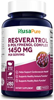 Resveratrol & Polyphenol Complex 1450 mg 180 Vegetarian Caps (Non-GMO & Gluten Free) + Vitamin C - Supports Cardiovascular...