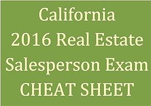 2016 CA Real Estate Salesperson Exam Cheat Sheet