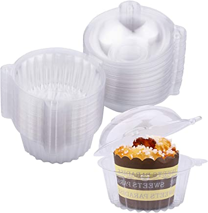 50 Pack Individual Cupcake Containers Single Disposable Clear Plastic Dome Cupcake Holders Cake Boxes Muffin Case Cups Pods