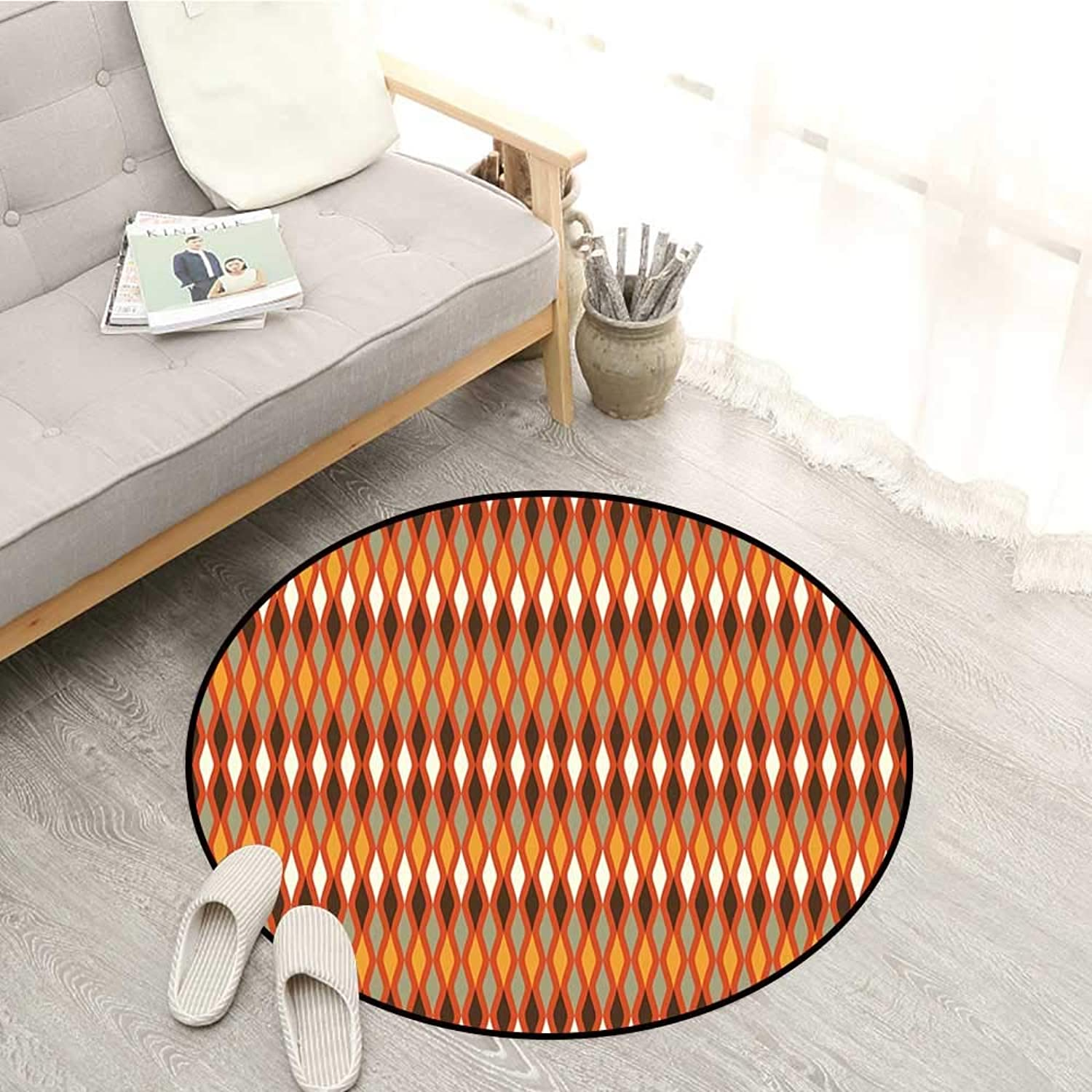 Geometric Non-Slip Rugs Rhombus Shape Pattern with Warm colord Arrangement Ornamental Elements Abstract Sofa Coffee Table Mat 4'11  Multicolor
