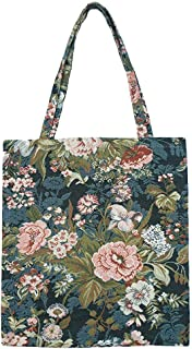 Signare Tapestry Navy & Pink Reusable Grocery Eco Friendly Shopping Tote Bag in Floral and Garden Design (Peony)