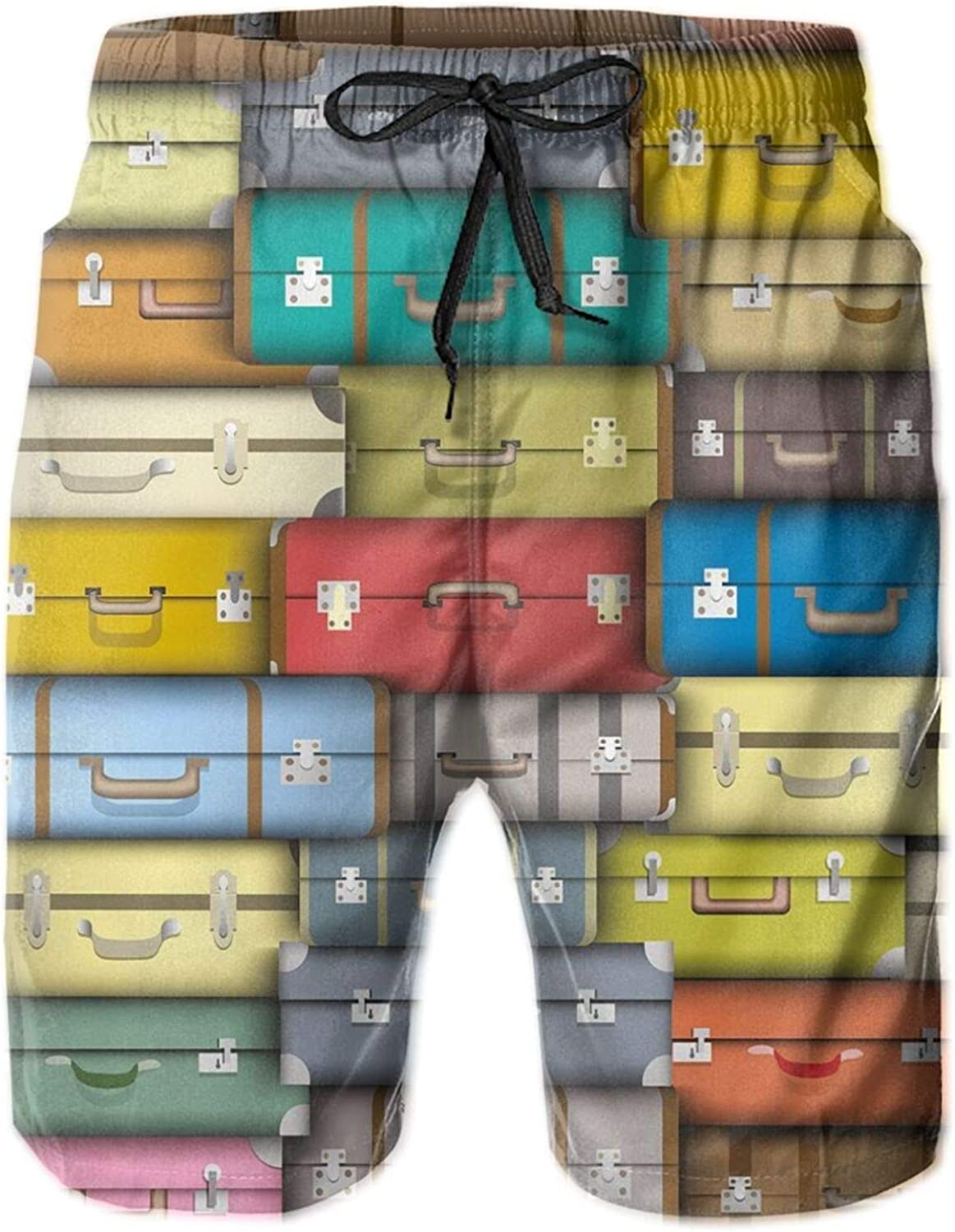 Colorful Suitcases Background Vintage Travel Voyage Holiday Themed Artful Design Drawstring Waist Beach Shorts for Men Swim Trucks Board Shorts with Mesh Lining,L