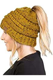 Funky Junque Women s Beanie Ponytail Messy Bun BeanieTail Multi Color  Ribbed Hat Cap 0b2ac1133ccb