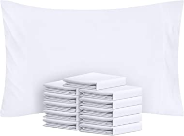Utopia Bedding Cotton Pillowcases - 12 Pack - T-180 Bulk Pillowcase Set- Hotel Quality Pillow Covers (Queen, White)