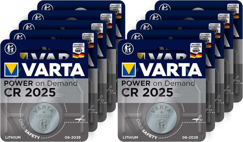 Varta Pilas de botón de Litio 3V Power on Demand CR2025 - Paquete de Reserva de 10 Unidades - Inteligente, Flexible y Potente para el Usuario Final móvil