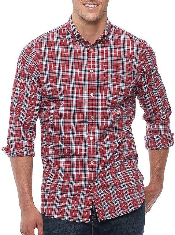 Sonoma Mens Classic Fit Poplin Stretch Casual Shirt Red Plaid Big Tall Sizes