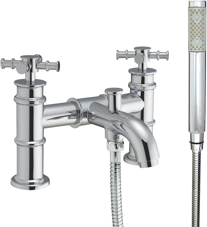 Denford Traditional Bathroom Taps Basin Bath Shower Solid Brass Chrome (Bath Shower Mixer)