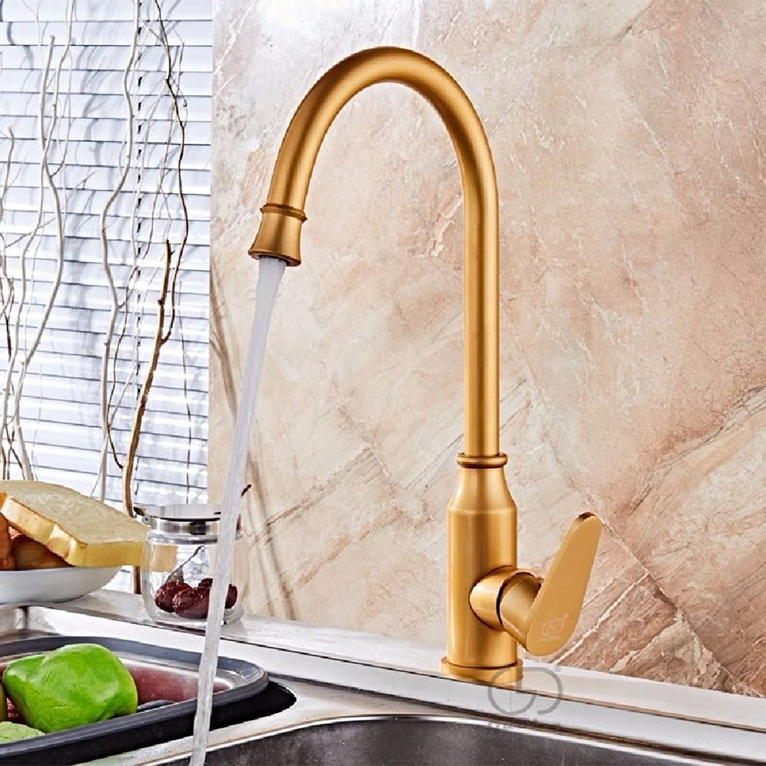 Modern simple copper hot and cold kitchen sink taps kitchen faucet gold redating Hot and Cold Kitchen Faucet Space Aluminum Sink Faucet Suitable for all bathroom kitchen sinks