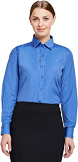 La MODE Women's Plain Regular Fit Shirt (M20065_Blue_36, Blue, 36)