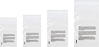 Poly Bags with Suffocation Warning 4x6, 5x7, 6x9, 8x10 - Small Combo Pack of 400 (100 Each Size) - Clear Poly Bags by Retail Supply Co - Resealable